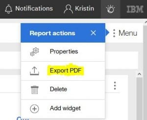 export PDF option in Performance Insights
