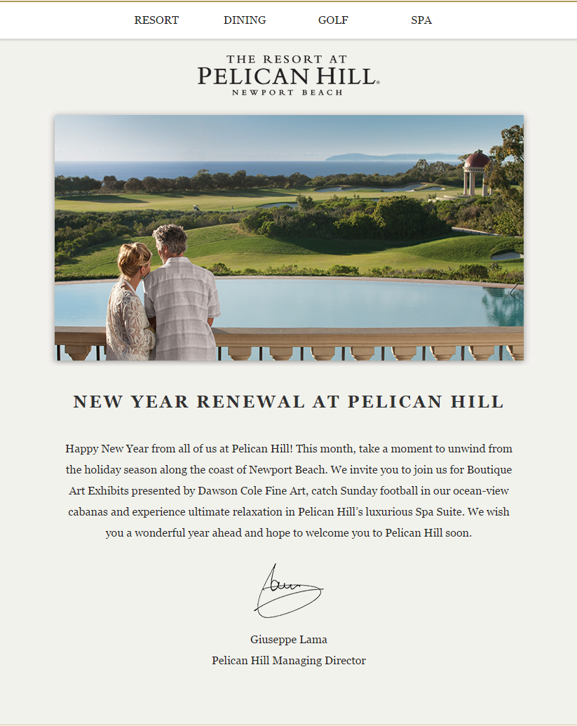 Pelican Hill Email Example