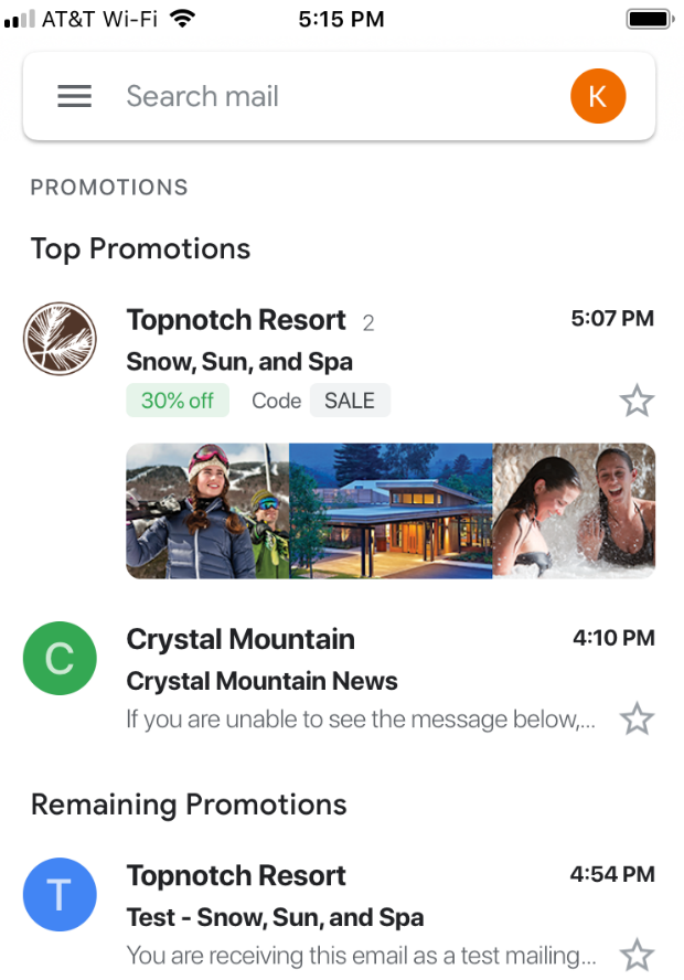 Google Annotations example - Topnotch logo and promo card appear in Gmail