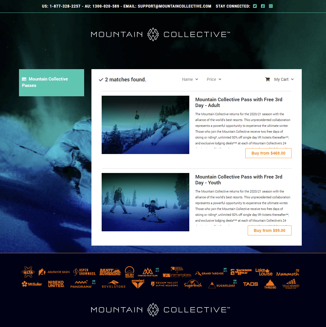 screenshot of mountain collective ecommerce storefront