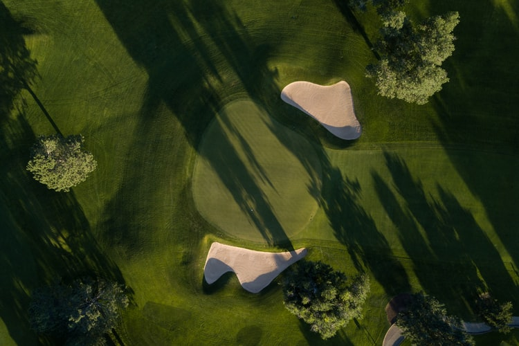 overhead view of golf hole