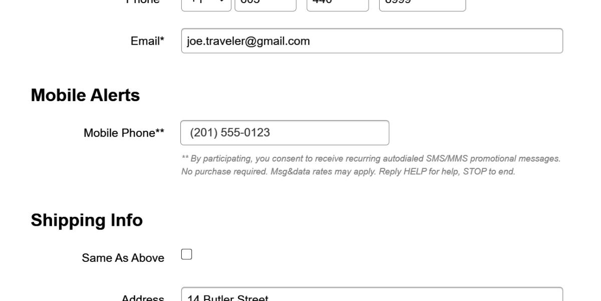 sms opt-in screenshot