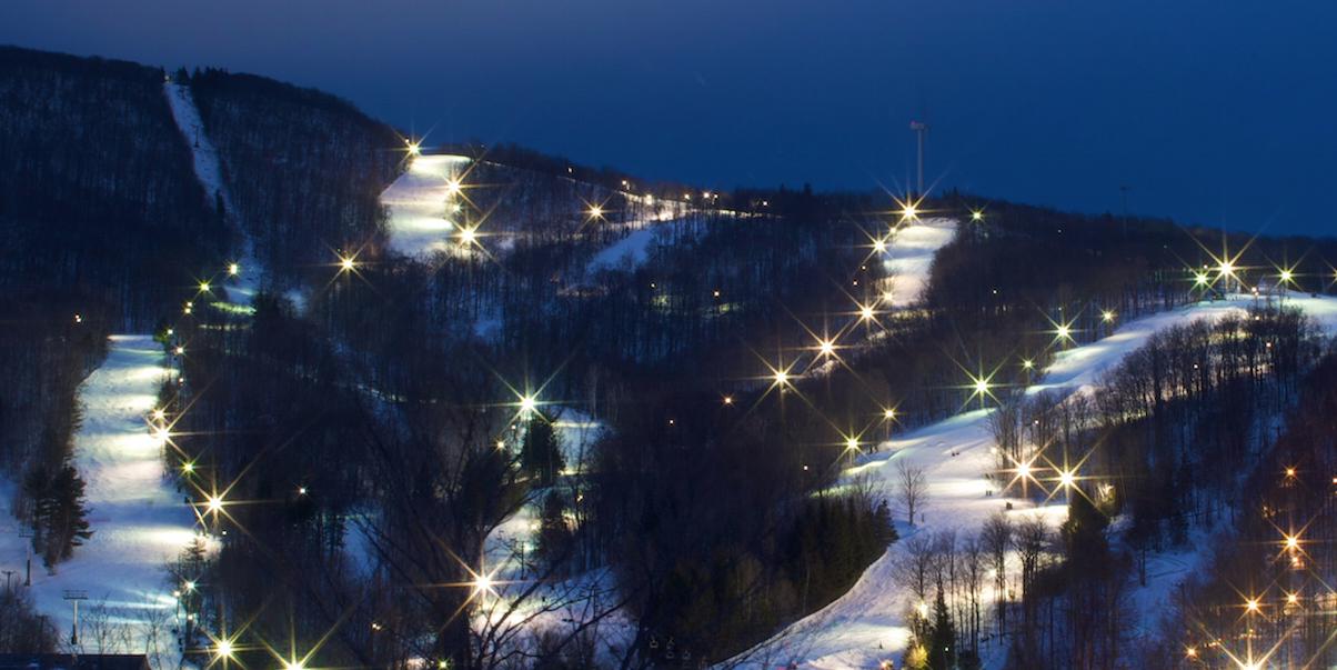 night skiing at Jiminy Peak