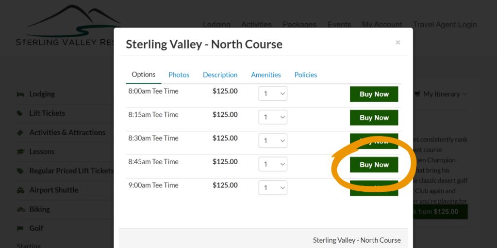 screenshot of golf tee-time adding modal