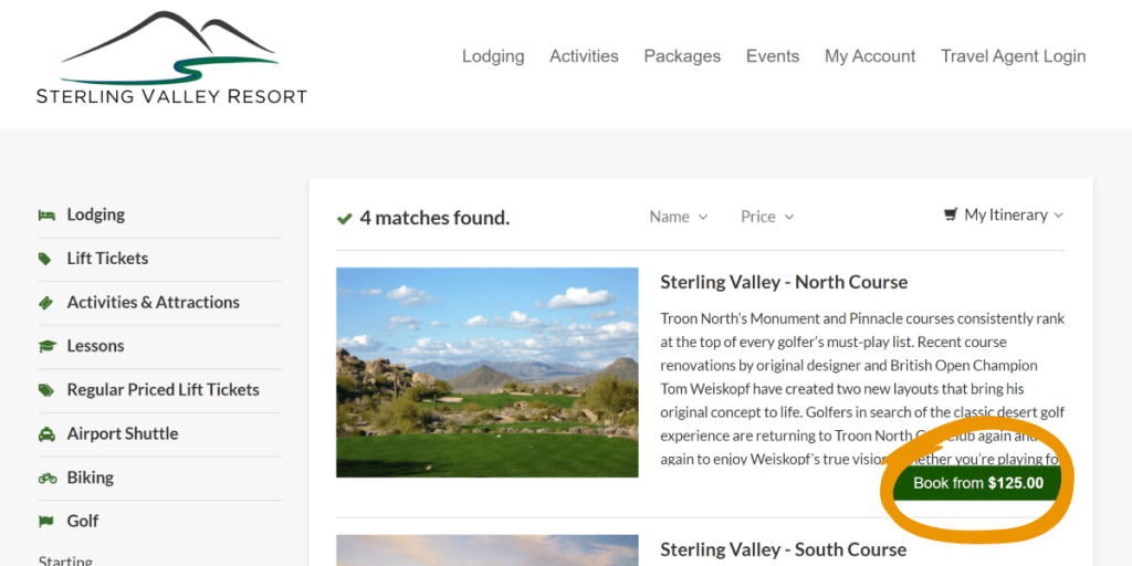 screenshot of golf search results