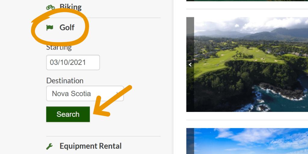 screenshot of golf search sidebar