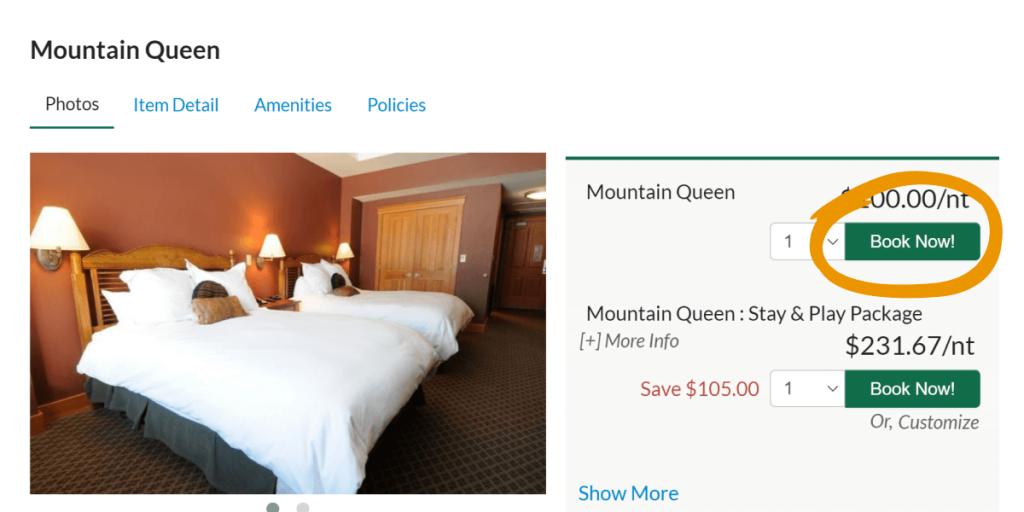 screenshot of lodging detail page