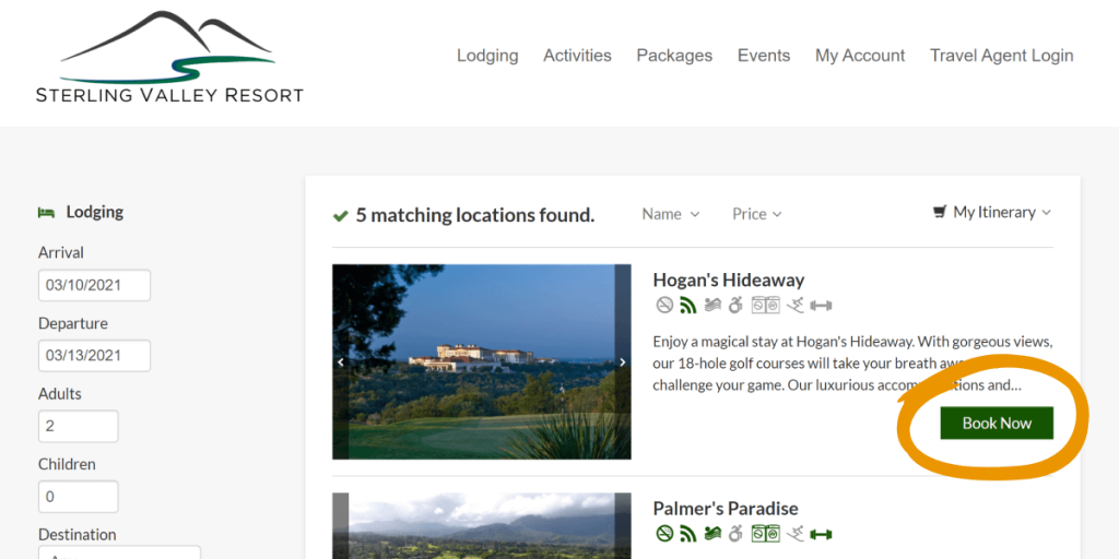 screenshot of lodging search results