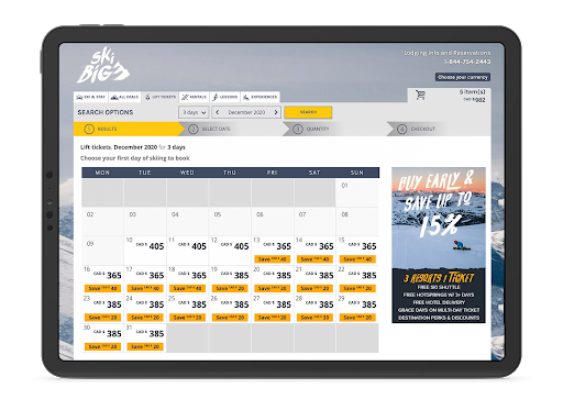 screenshot of booking calendar