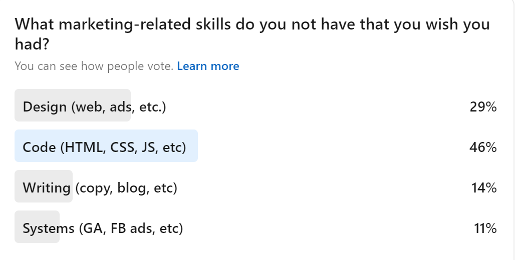 results of skills poll - design, 29%; code, 46%; writing, 14%; systems, 11%